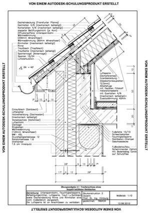 Traufanschluss Steildach CAD-Zeichnung Student